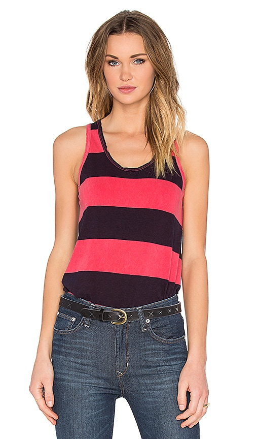Large Rugby Stripe Scoop Neck Tank