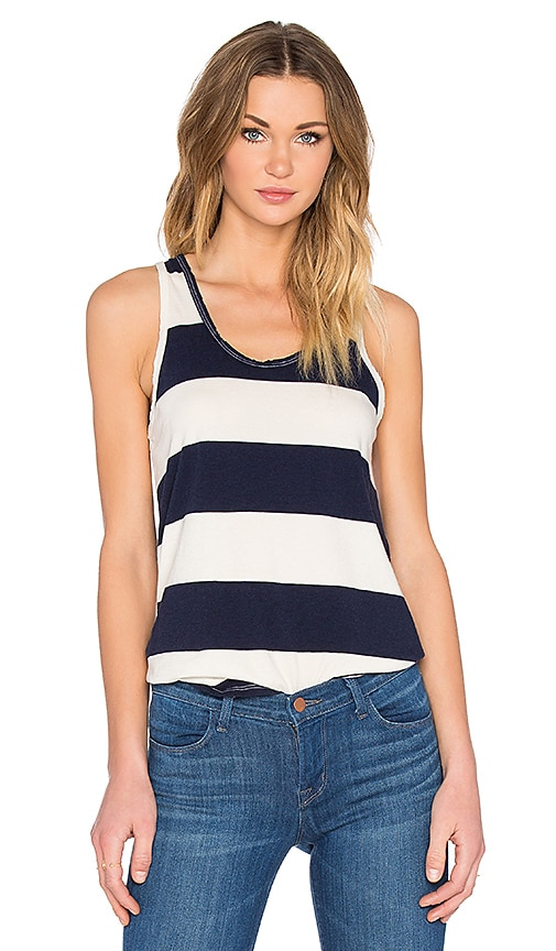 Stateside Large Rugby Stripe Scoop Neck Tank in Navy