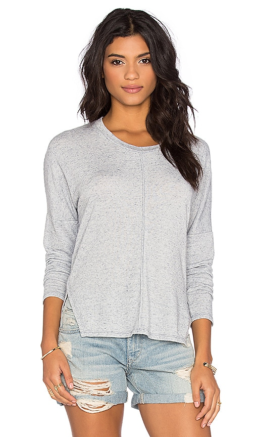 Stateside Linen Sweater Long Sleeve Crew Neck Top in Blue
