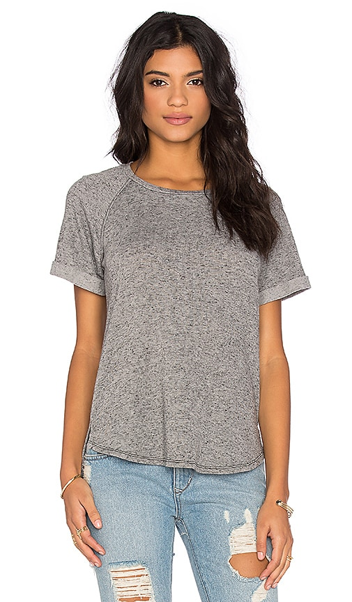 Stateside Linen Sweater Short Sleeve Crew Neck Top in Black