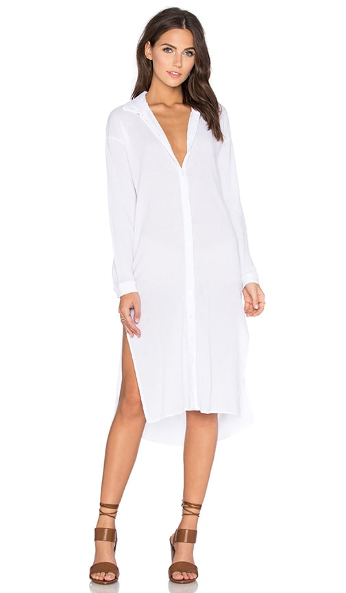 Contrast Supima Slub Jersey Long Slit Button Up Top