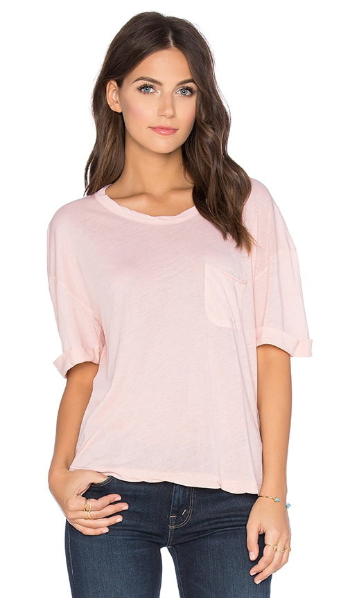 Stateside Royal Supima Jersey Light Front Pocket Crew Neck Tee in Peach