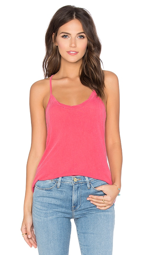 Stateside Royal Supima Jersey Light Scoop Neck Racerback Tank in Coral