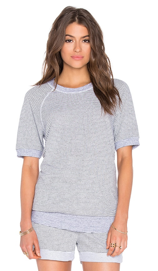 Stateside Skinny Heather Grey Stripe French Terry Short Sleeve Top in Gray