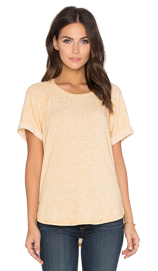 Stateside Linen Sweater Short Sleeve Crew Neck Tee in Yellow