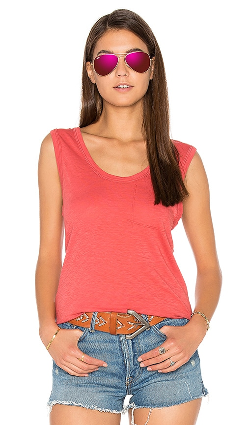 Stateside Supima Slub Jersey Scoop Neck Tank in Red