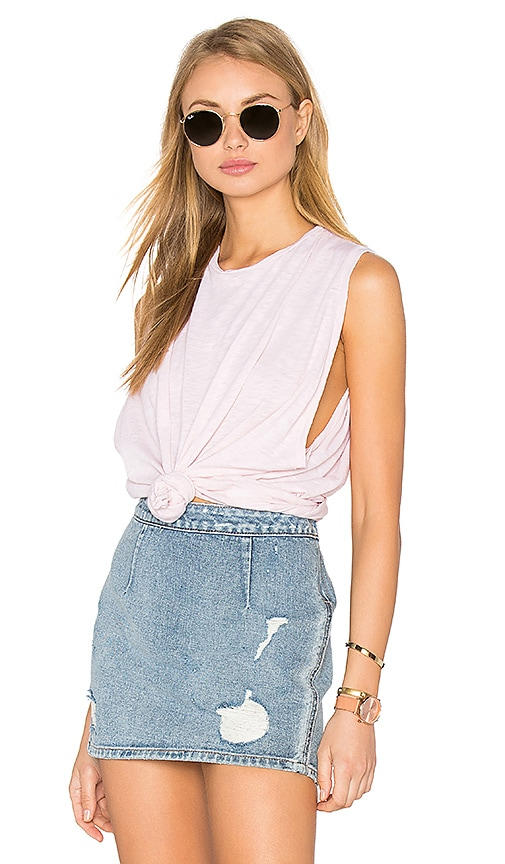 Stateside Supima Slub Jersey Crew Neck Tank in Blush