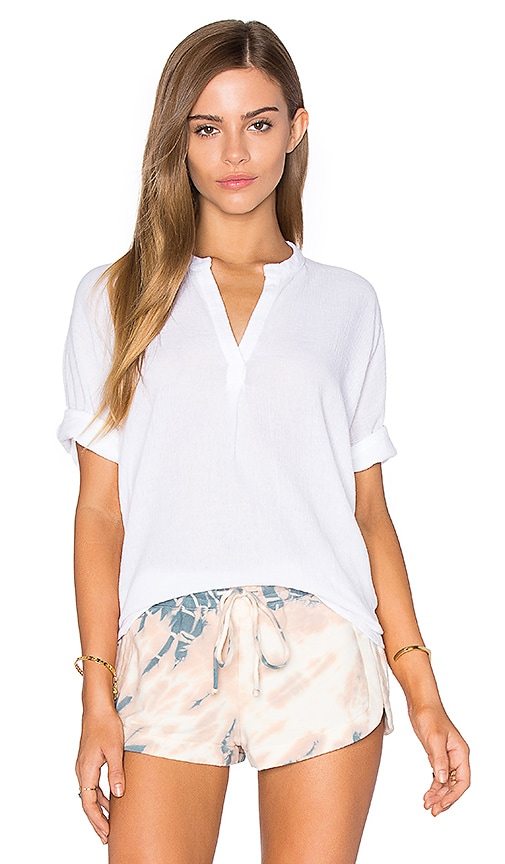 Stateside Bubble Gauze Short Sleeve Blouse in White