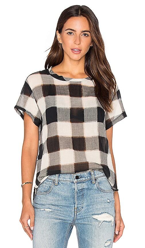 Stateside Gauze Plaid Shirting Short Sleeve Top in Black