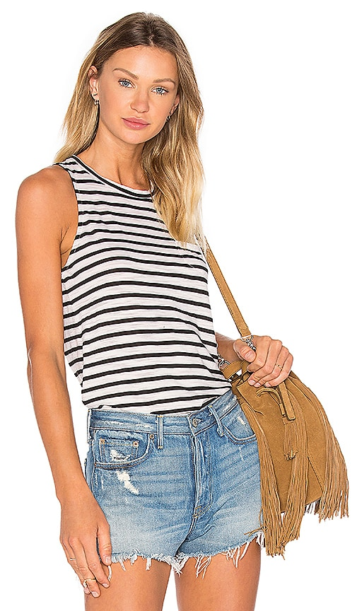 Slub Black Stripe Tank