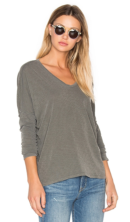 Stateside V Neck Long Sleeve Tee in Sage