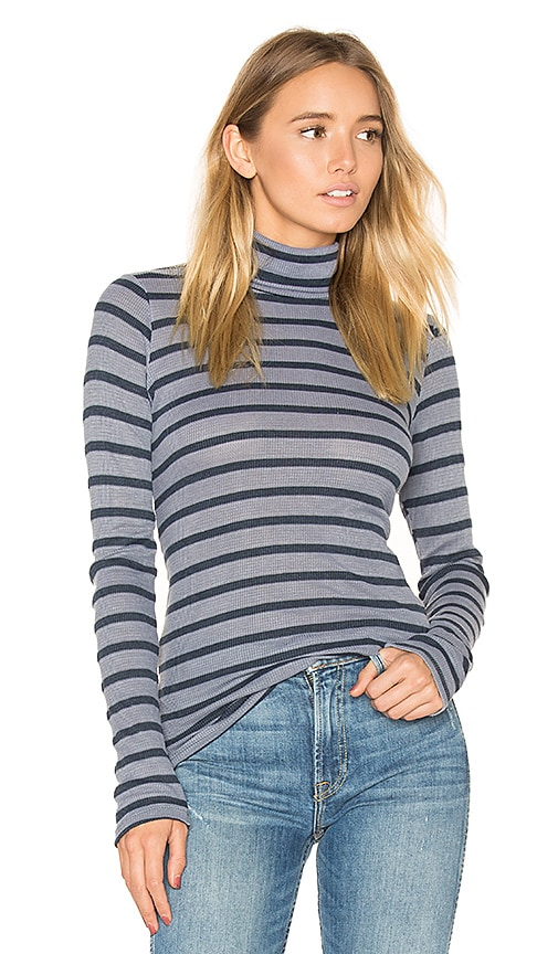 Stateside Stripe Thermal Turtleneck Sweater in Gray