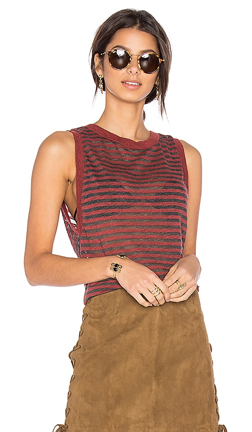 Stateside Stripe Muscle Tank in Red