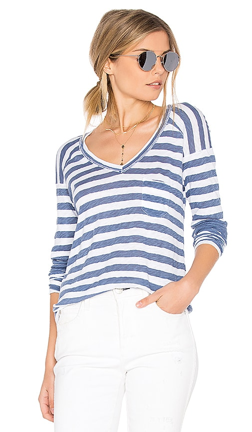 Stateside Painterly Blue Stripe V Tee in Blue