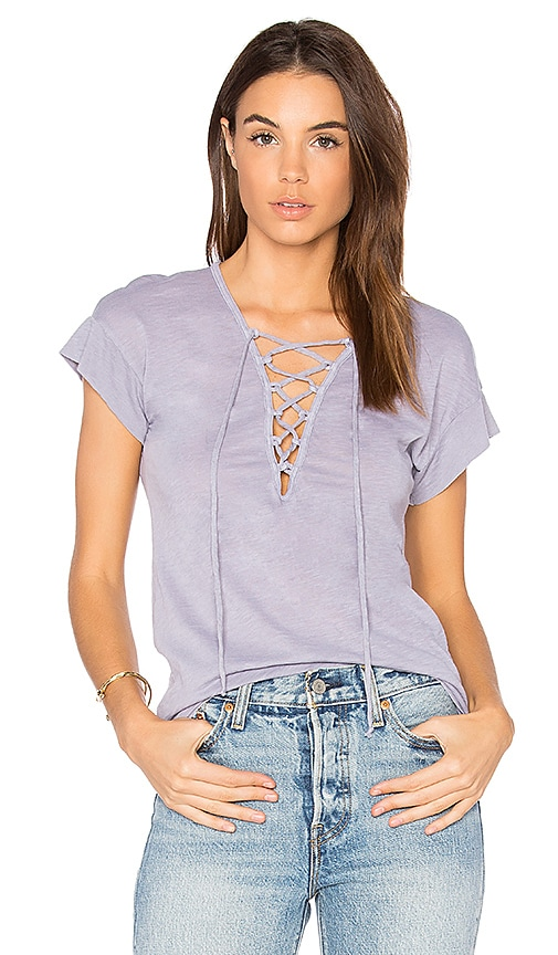 Stateside Lace Up Tee in Gray