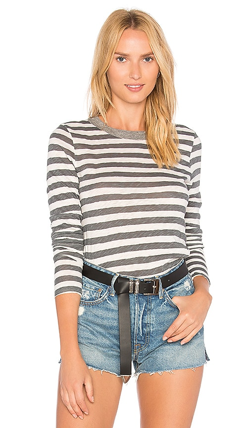 Stateside Painterly Stripe Top in Gray