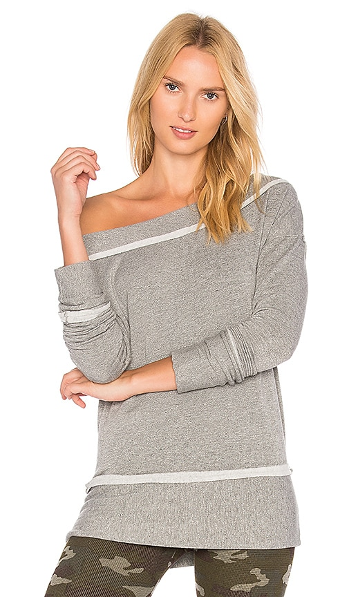 Stateside Fleece Off the Shoulder Top in Gray