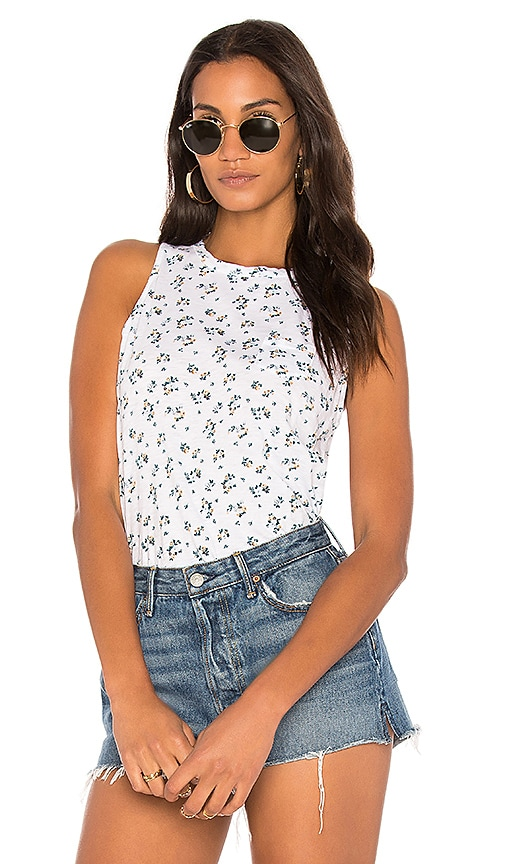 Stateside Floral Print Tank in White