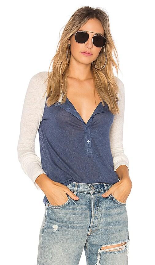 Stateside Linen Jersey Top in Blue