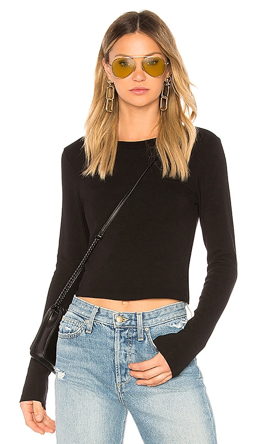 Stateside Ribbed Crew Neck Crop Top in Black