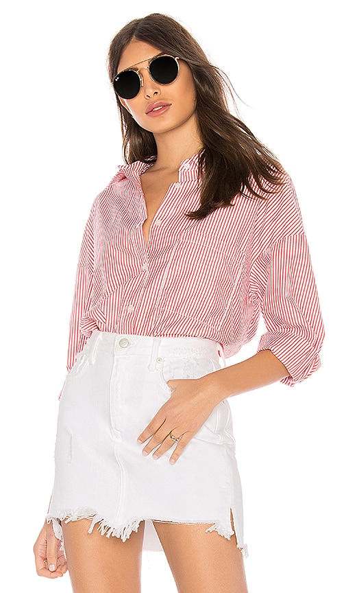 Stateside Oxford Striped Shirt in Red