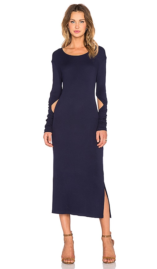 State of Being Fine Rib Long Sleeve Dress in Navy
