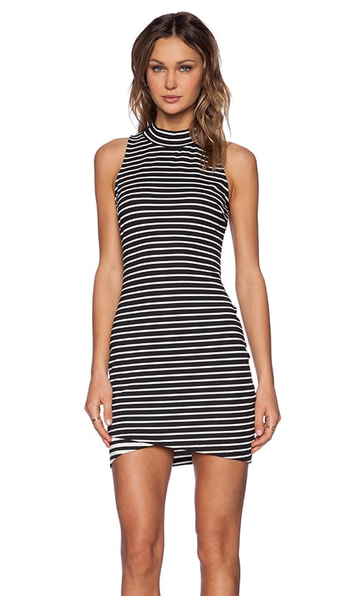 State of Being Stripe Turtleneck Dress in Black