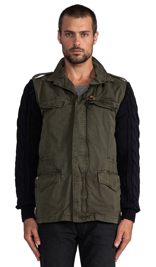Military Jacket w/ Knit Sleeves