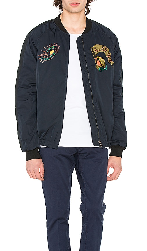 8edf3286b3 Scotch & Soda Quilted Embroidered Bomber Jacket in Night | REVOLVE