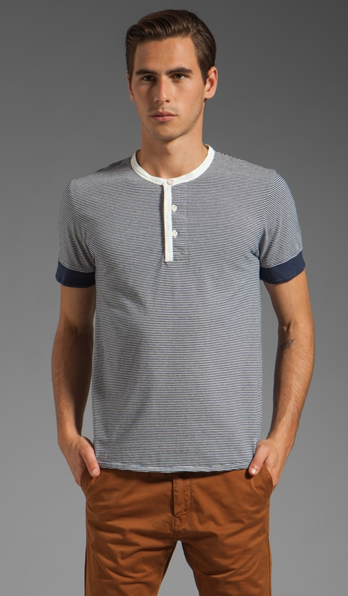 Short Sleeve Stripe Henley