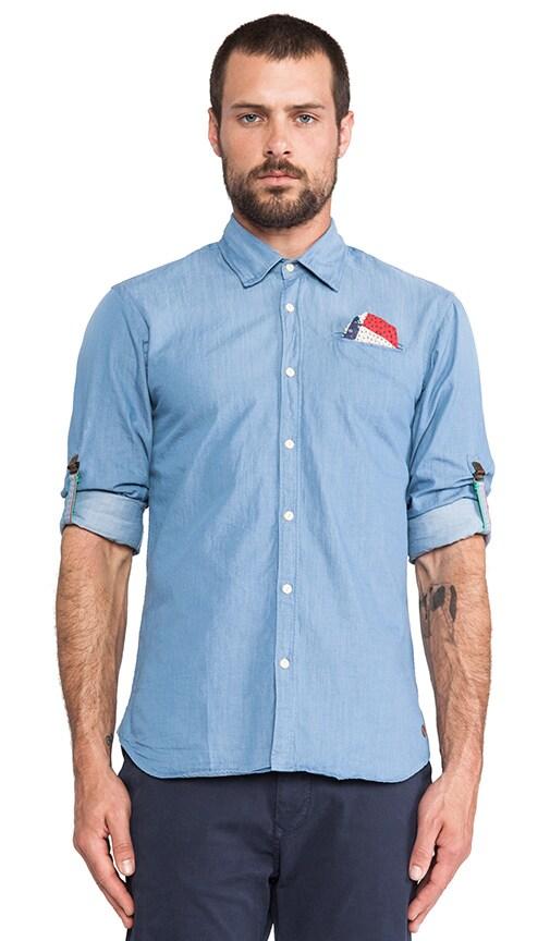 Crispy Poplin Shirt w/ Sleeve Rollup Suspenders