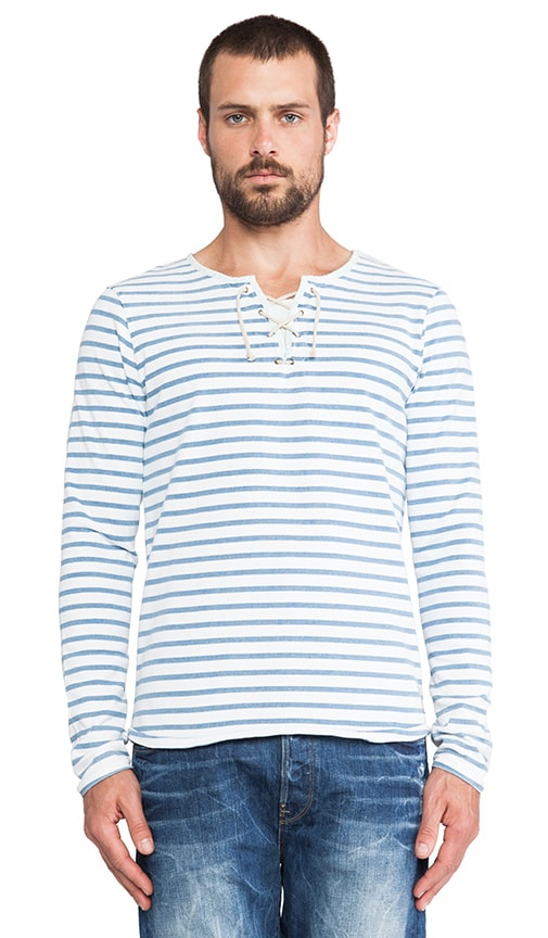 Long sleeve Striped Tee w/ Drawcord Closure