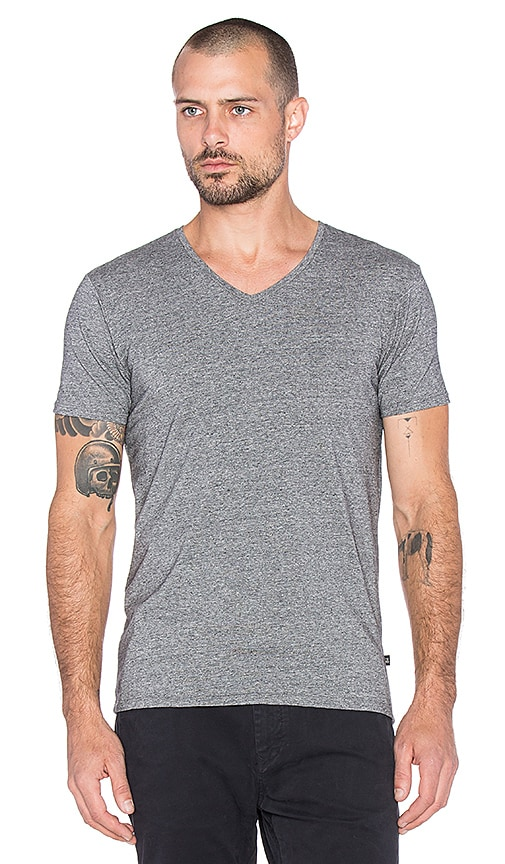 Scotch & Soda Classic Cotton Lycra V Neck Tee in Charcoal