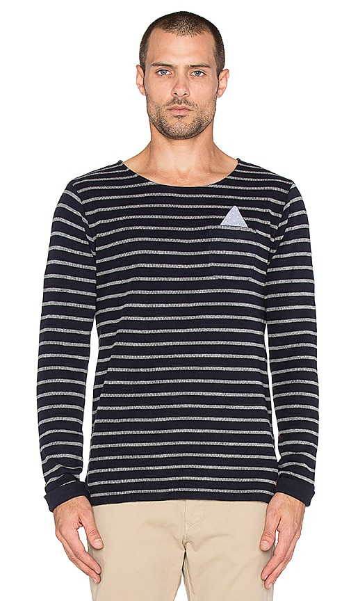 Scotch & Soda Fixed Pocket Longsleeve Crewneck Tee in Navy Grey