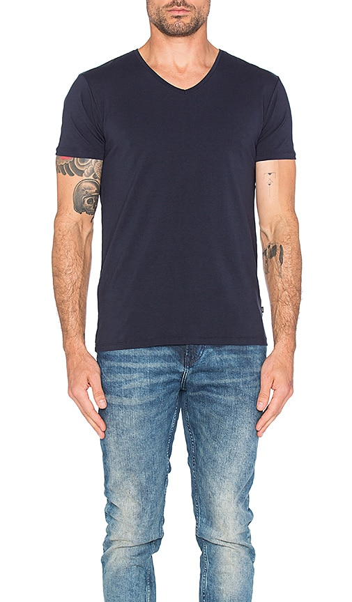 Scotch & Soda Classic V Neck Tee in Navy