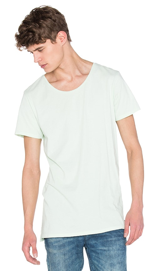 Scotch & Soda Oil Washed Deep V Neck Tee in Mint