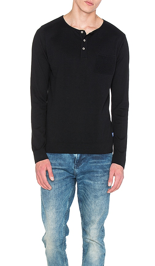 Scotch & Soda Grandad Pullover with Mesh Details in Black
