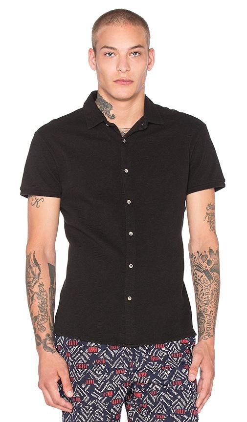 Scotch & Soda Shortsleeve Pique Shirt in Black