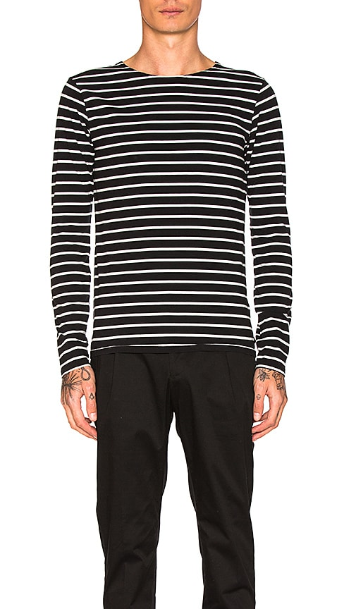 Scotch & Soda Classic Long Sleeve Tee in Black & White