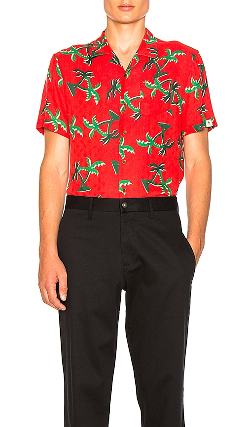 Scotch & Soda Short Sleeve Hawaii Shirt in Red