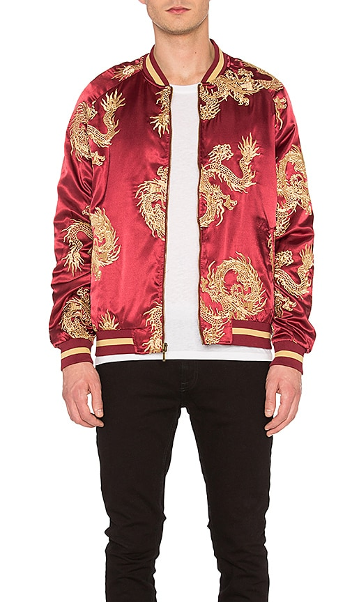 Standard Issue Dragon Bomber Jacket in Burgundy