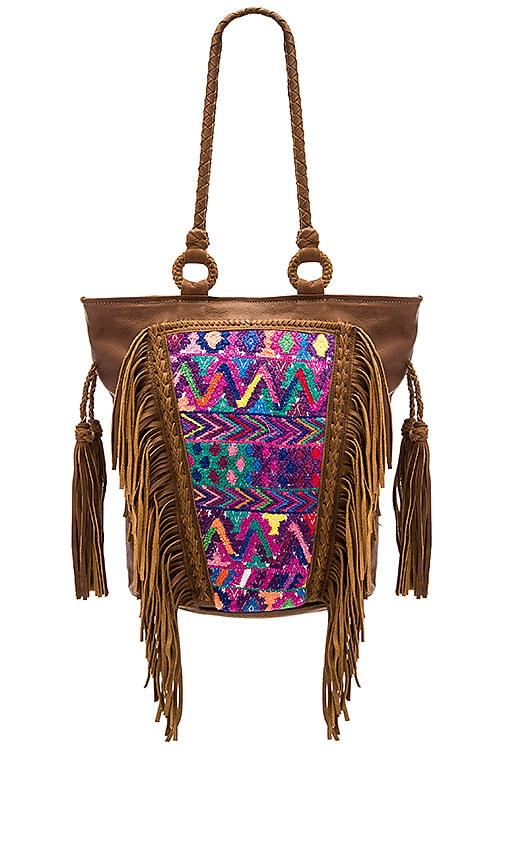 STELA 9 Santos Fringe Tote in Brown