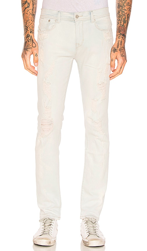 Stampd Distressed Skinny Jeans in Cream Bleached