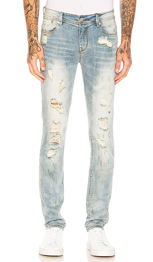 Stampd Distressed Skinny Jeans in Light Indigo