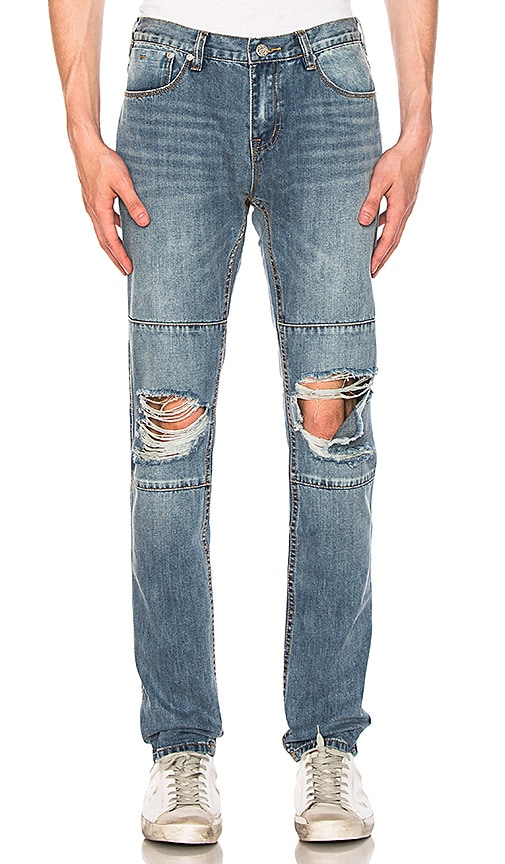 Stampd Relaxed Panel Jeans in Washed Indigo