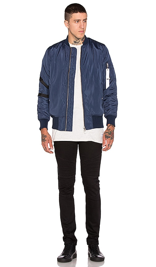 Stampd Strapped Bomber Jacket in Navy
