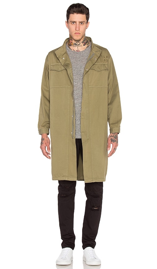 Stampd Elongated Military Parka in Olive
