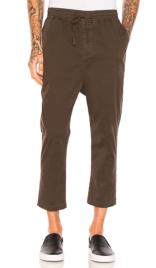 Stampd Washed Cropped Chino in Army