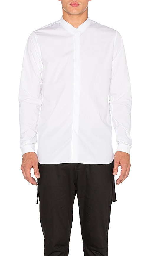 Stampd Rib Collar Dress Shirt in White