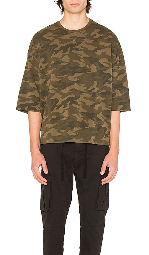 Stampd Camo Washed Oversized Tee in Army